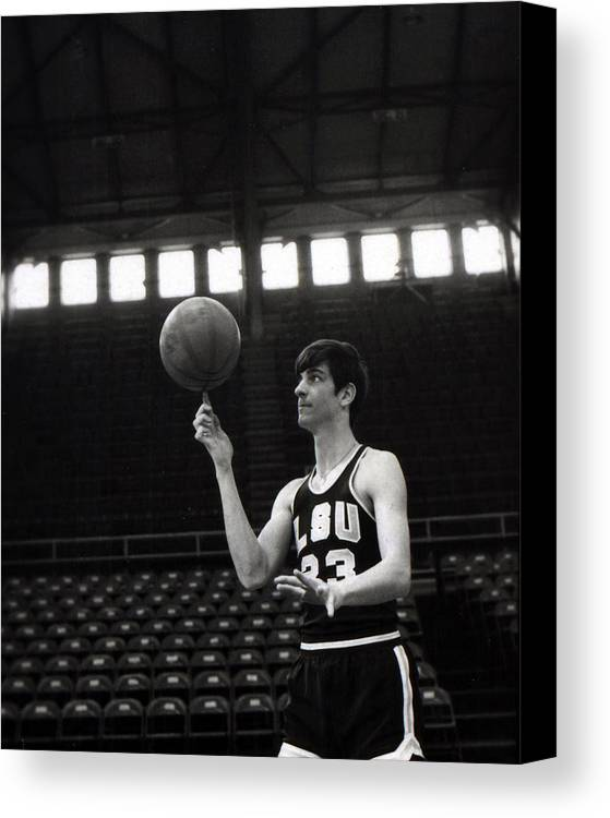 Classic Canvas Print featuring the photograph Pete Maravich Spinning Ball On Finger by Retro Images Archive