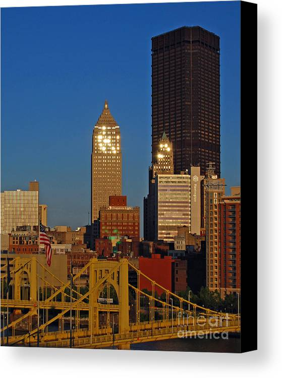 Pittsburgh Canvas Print featuring the photograph Pittsburg At Dusk by Stephen Whalen