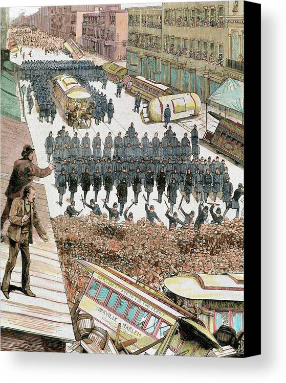 1886 Canvas Print featuring the photograph Police Officers Dispersing The Strike by Prisma Archivo