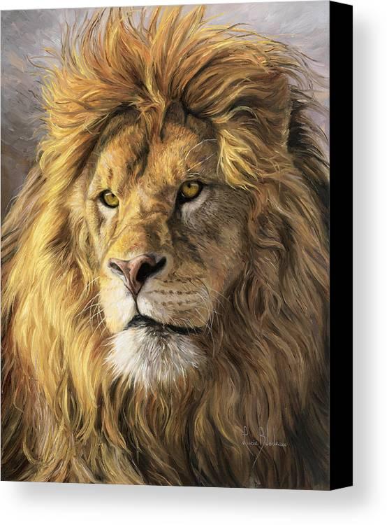 Lion Canvas Print featuring the painting Portrait Of A Lion by Lucie Bilodeau