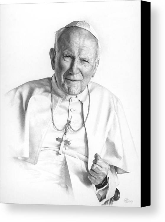 Pope Canvas Print featuring the drawing Portrait Of A Saint by Smith Catholic Art