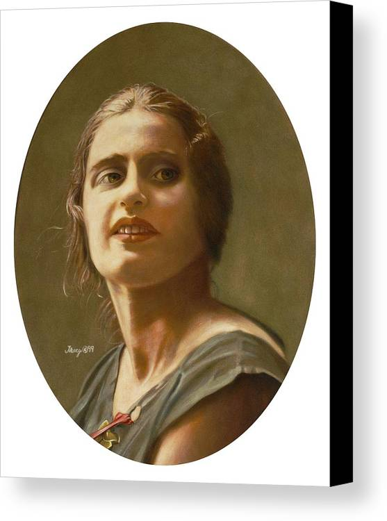 Portrait Of Ayn Rand Canvas Print featuring the painting Portrait Of Ayn Rand by Robert Tracy