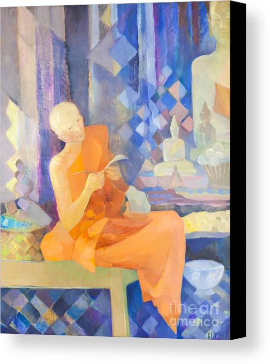 Asia Canvas Print featuring the photograph Priest By Genevieve Couteau by Roberto Morgenthaler