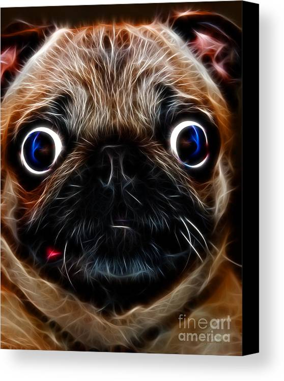 Animal Canvas Print featuring the photograph Pug Dog - Electric by Wingsdomain Art and Photography
