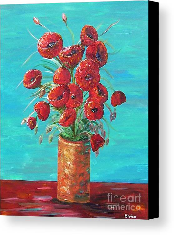 Poppy Canvas Print featuring the painting Red On My Table by Eloise Schneider Mote