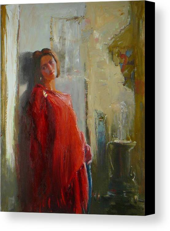 Red Poncho Canvas Print featuring the painting Red Poncho by Irena Jablonski