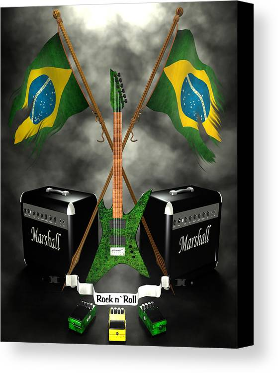 Rock N Roll Canvas Print featuring the digital art Rock N Roll Crest - Brazil by Frederico Borges