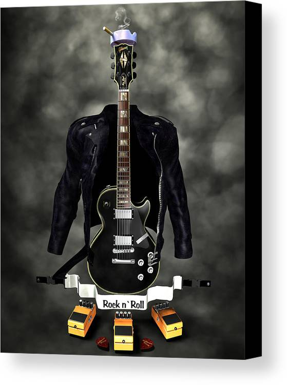 Rock N Roll Canvas Print featuring the digital art Rock N Roll Crest-the Guitarist by Frederico Borges