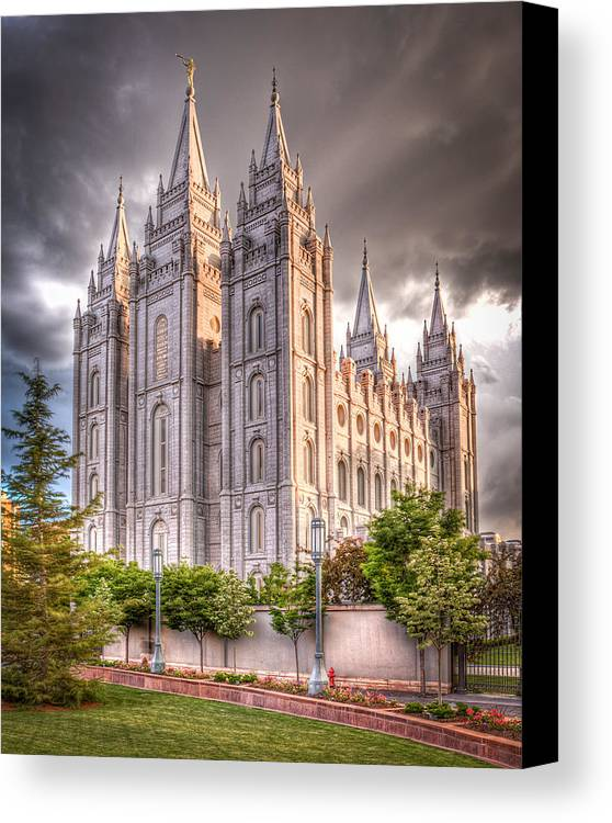 Temple Canvas Print featuring the photograph Salt Lake Temple by Niels Nielsen