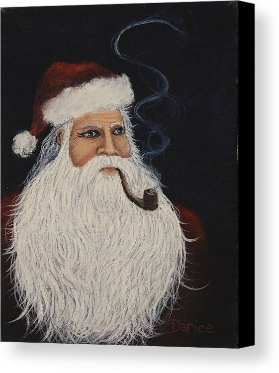 Santa Claus Canvas Print featuring the painting Santa With His Pipe by Darice Machel McGuire