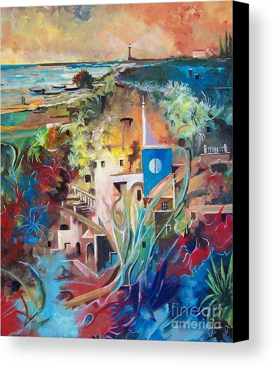 Abstract Canvas Print featuring the painting Secret Cove by Sinisa Saratlic