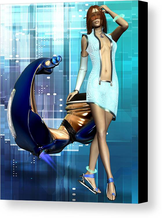 Babe Canvas Print featuring the digital art Sexy Scooter by Frederico Borges