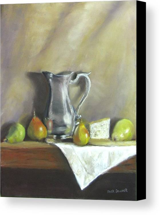 Still Life Canvas Print featuring the painting Silver Pitcher With Pears by Jack Skinner