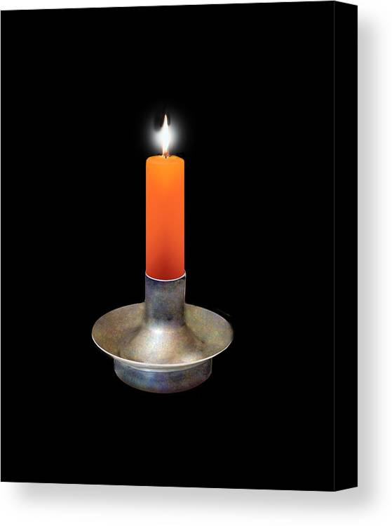 Candle Canvas Print featuring the digital art Single Orange Candle On Black by Melissa A Benson