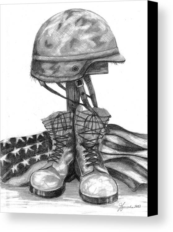 Cross Canvas Print featuring the drawing Soldiers Cross Remember The Fallen by J Ferwerda