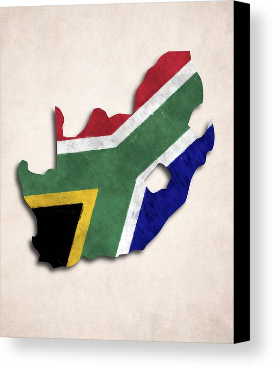 South africa map art with flag design canvas print canvas art by africa canvas print featuring the digital art south africa map art with flag design by world gumiabroncs Images
