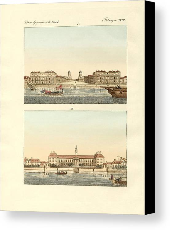 Bertuch Canvas Print featuring the drawing Strange Buildings In England by Splendid Art Prints