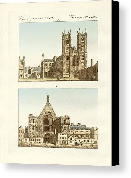 Bertuch Canvas Print featuring the drawing Strange Buildings In London by Splendid Art Prints