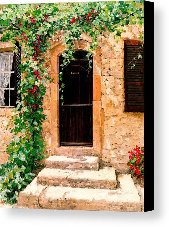 French Door Canvas Print featuring the painting Sunlight Vines - Oil by Michael Swanson
