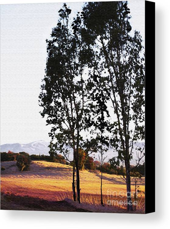 Wine Country Canvas Print featuring the painting Sunrise Over Northern California Hills by Artist and Photographer Laura Wrede