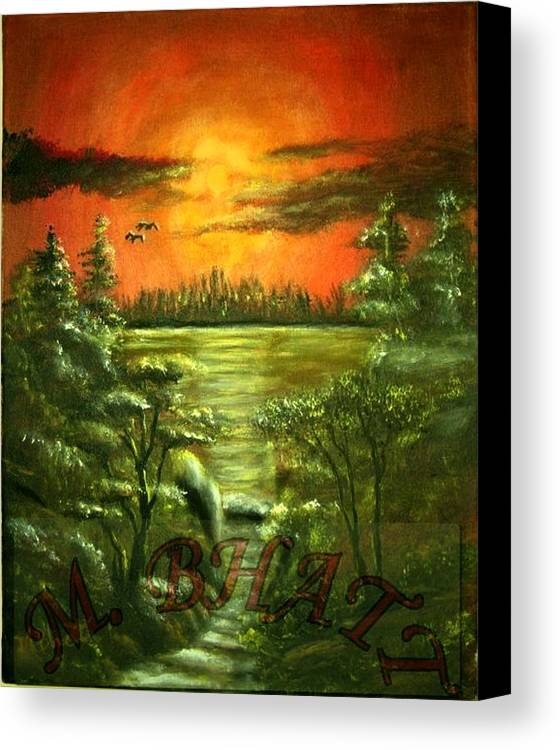 Nature Canvas Print featuring the painting Sunset by M bhatt