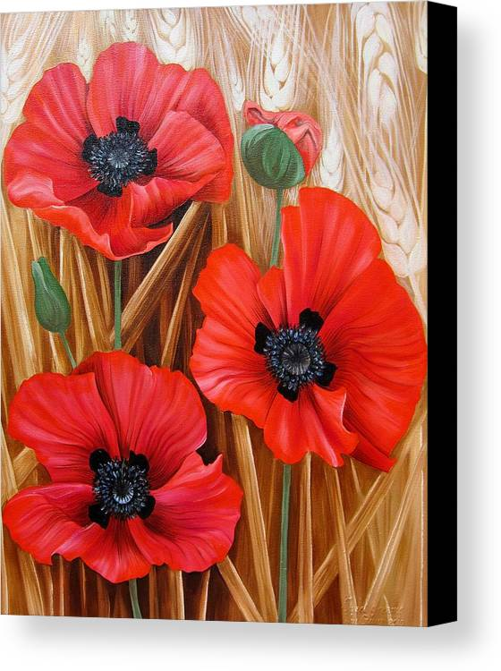 Poppy Canvas Print featuring the painting Sweet Dreams by Anamaria Guina