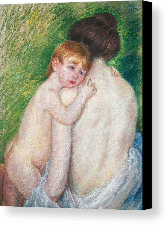Child Canvas Print featuring the painting The Bare Back by Mary Cassatt Stevenson