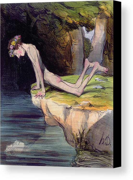 Myth Canvas Print featuring the painting The Beautiful Narcissus by Honore Daumier