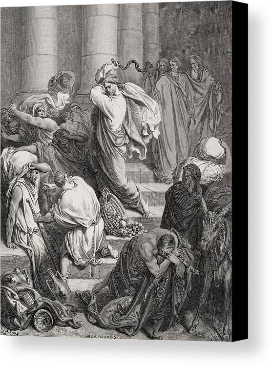 Jesus Canvas Print featuring the painting The Buyers And Sellers Driven Out Of The Temple by Gustave Dore