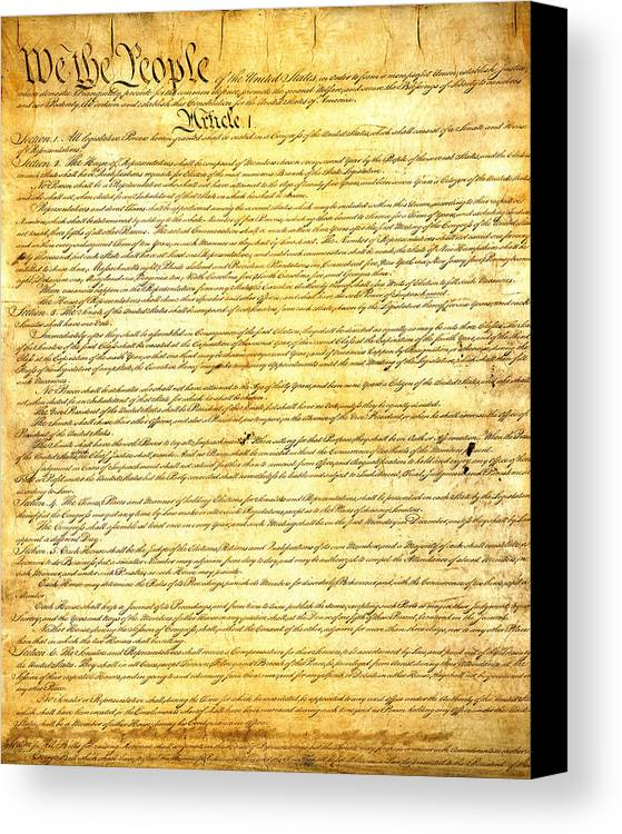 Constitution Canvas Print featuring the mixed media The Constitution Of The United States Of America by Design Turnpike