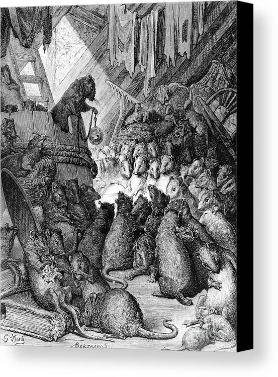 Rat Canvas Print featuring the painting The Council Held By The Rats by Gustave Dore