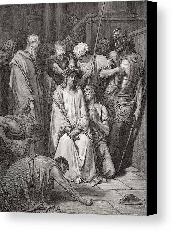 Jesus Christ Canvas Print featuring the painting The Crown Of Thorns by Gustave Dore