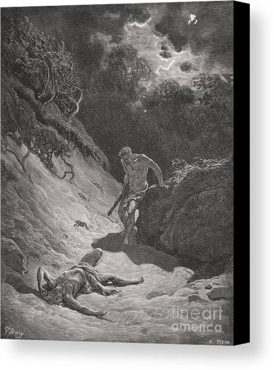 Cain Canvas Print featuring the painting The Death Of Abel by Gustave Dore