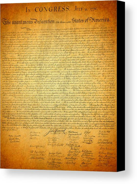 Declaration Canvas Print featuring the mixed media The Declaration Of Independence - America's Founding Document by Design Turnpike