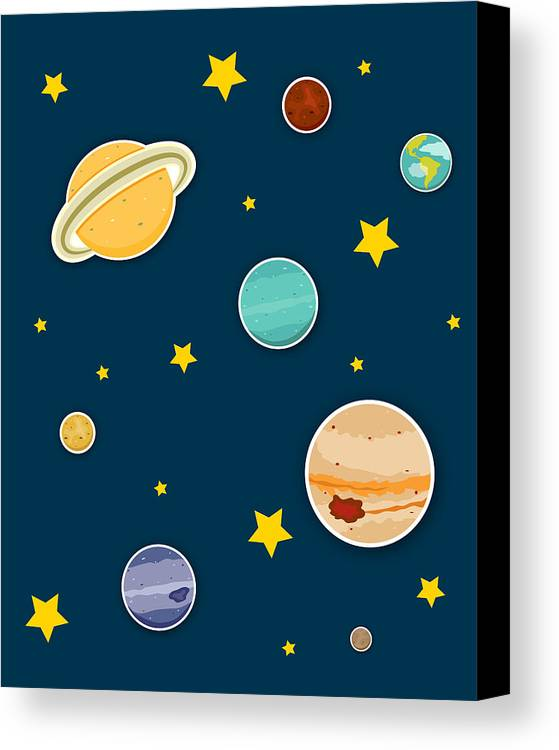 Planets Canvas Print featuring the digital art The Planets by Christy Beckwith