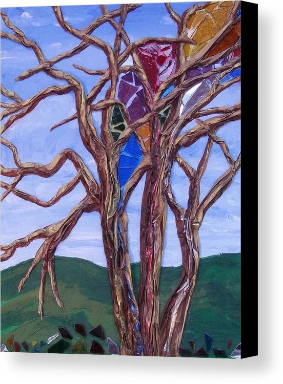 Tree Canvas Print featuring the painting The Tree Knows by Renee Schneider