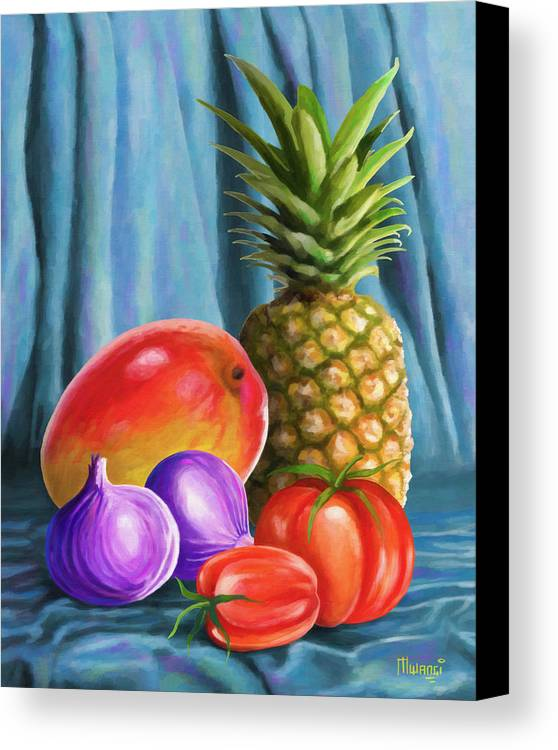 Pineapple Canvas Print featuring the painting Three Fruits And A Vegetable by Anthony Mwangi