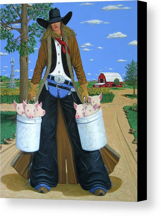 Little Piglets Canvas Print featuring the painting Tickled Pink by Lance Headlee
