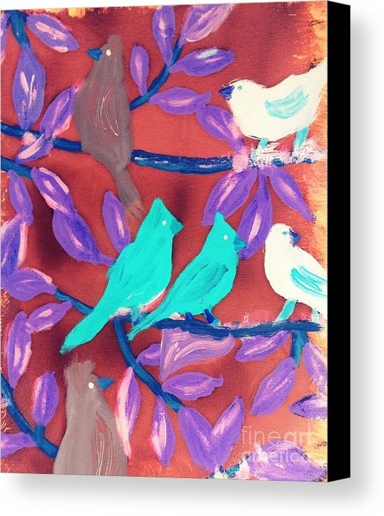 Birds Canvas Print featuring the painting Together by Deborah Selib-Haig DMacq