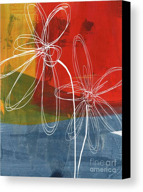 Abstract Canvas Print featuring the painting Two Flowers by Linda Woods