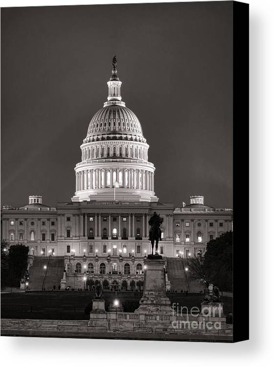 Washington Canvas Print featuring the photograph United States Capitol At Night by Olivier Le Queinec
