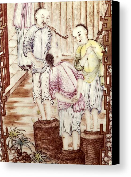 Vertical Canvas Print featuring the photograph Vase Depicting Men Packing Tea by Everett