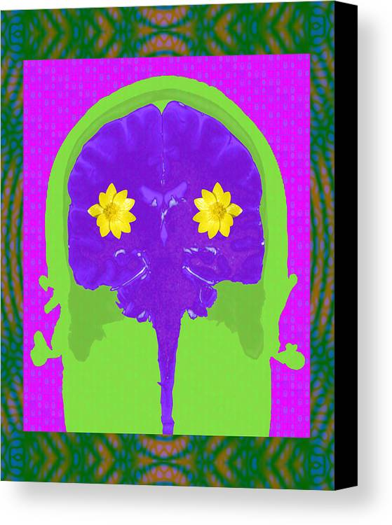 Digital Art Canvas Print featuring the photograph Vision Flowers In The Brain by Paul Franklin Smith