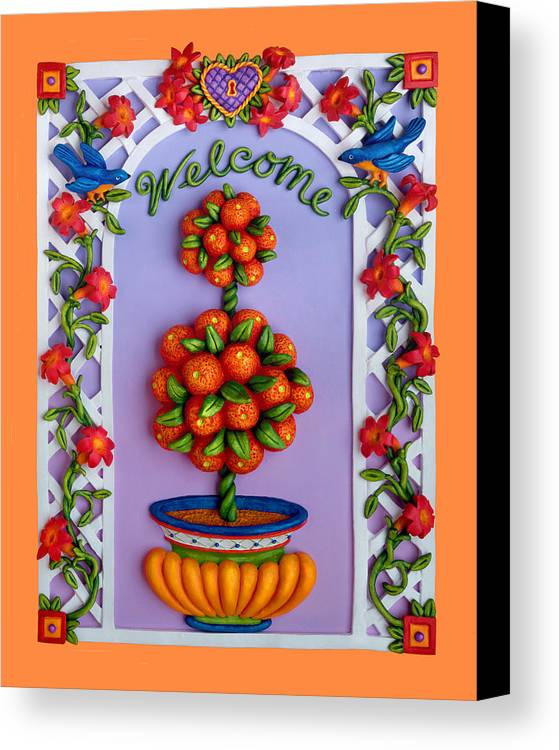 Garden Scene Canvas Print featuring the mixed media Welcome by Amy Vangsgard