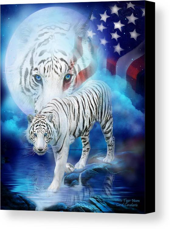 Carol Cavalaris Canvas Print featuring the mixed media White Tiger Moon - Patriotic by Carol Cavalaris
