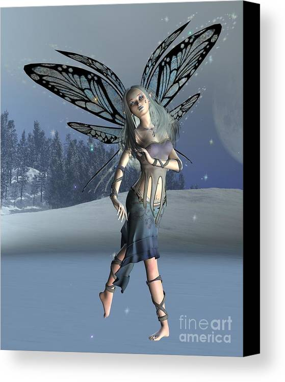 Fairy Canvas Print featuring the digital art Winter Frost Fairy by Fairy Fantasies