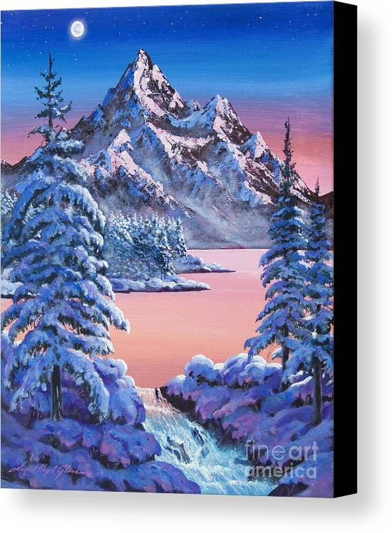 Landscape Canvas Print featuring the painting Winter Moon by David Lloyd Glover