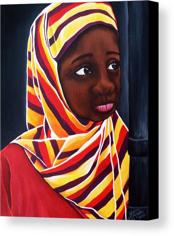 Girl Canvas Print featuring the painting Young Girl by Monique Morin Matson
