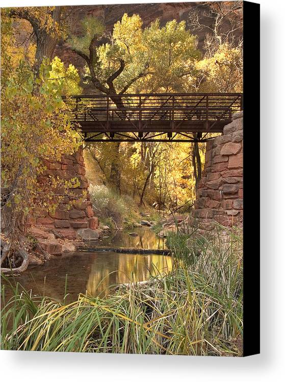 3scape Canvas Print featuring the photograph Zion Bridge by Adam Romanowicz
