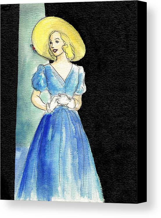 Nostalgia Canvas Print featuring the drawing Blue Gown by Mel Thompson